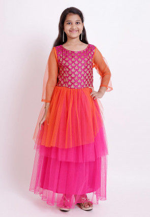 Woven Yoke Net Gown in Fuchsia and Orange