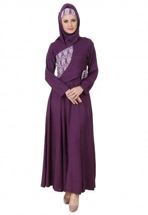 Woven Yoke Viscose Rayon Abaya in Violet