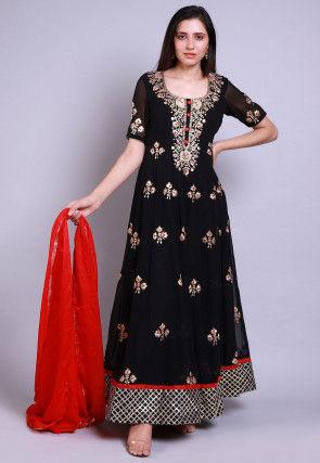 Zari Georgette Abaya Style Suit in Black