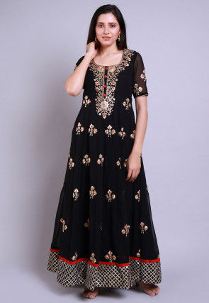 Zari Georgette Anarkali Kurta Set in Black
