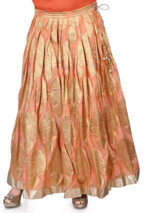 Zari Woven Chanderi Skirt in Peach