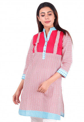 Zig Zag Printed Cotton Straight Kurta in Off White and Pink