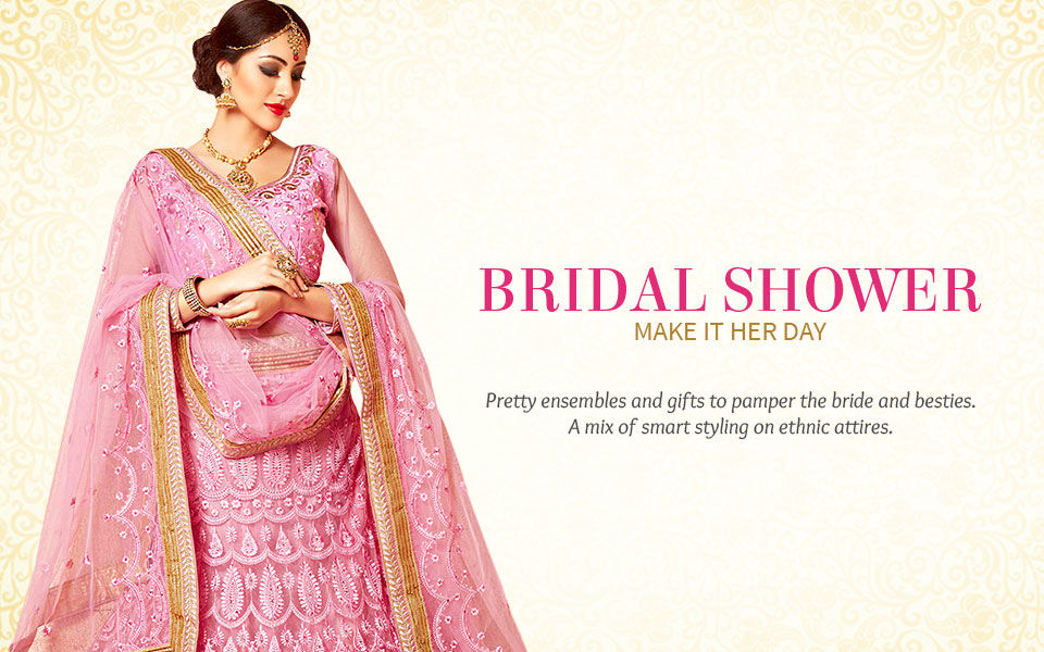 Front Slit Kurtas, Brocade Trousers, Dresses, Stone Jewelry for Bridal Shower.