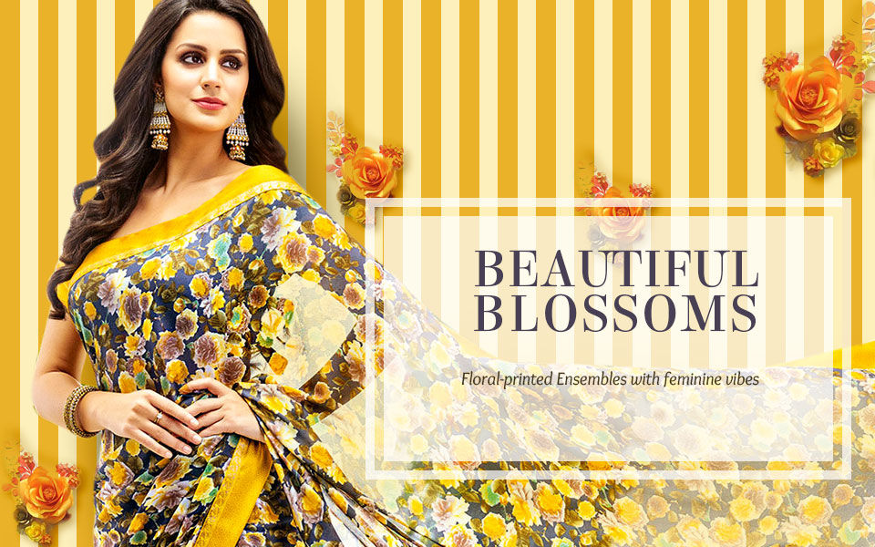 Discover floral prints and motifs in various styles in Indian Fashion