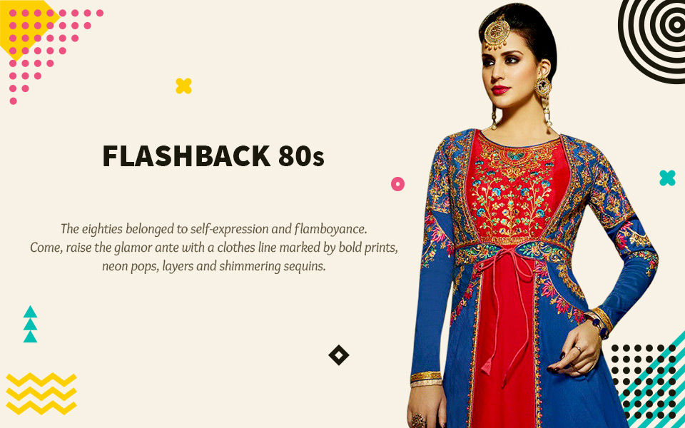 70s trend: Polka Dots, bold Prints, Palazzos and Anarkalis, Velvet ensembles. Shop!