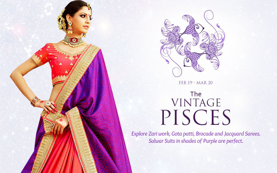 Pisces Zodiac Indian Ethnic Fashion Clothing In Shades Of