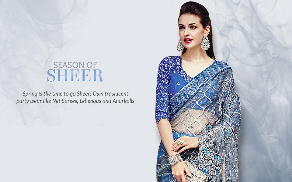 Trending Sheer look in Net Sarees, Abaya style Suits, Circular Lehengas & more. Shop!