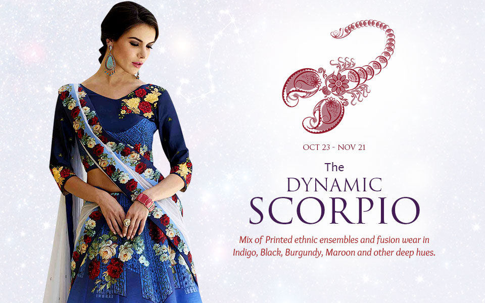 Scorpio Zodiac Indian Ethnic Fashion Clothing In Shades Of