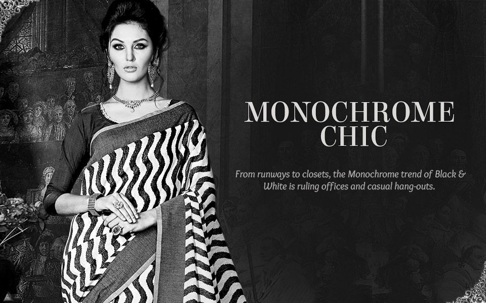 Monochrome Sarees, Salwar Suits & Indo Westerns in Black & White. Shop!