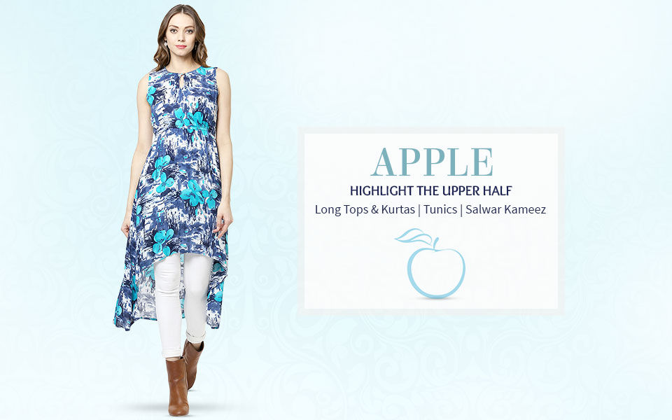 Apple Shape Tops, Long Kurta's, Tunics and Salwar Kameez. Shop now!