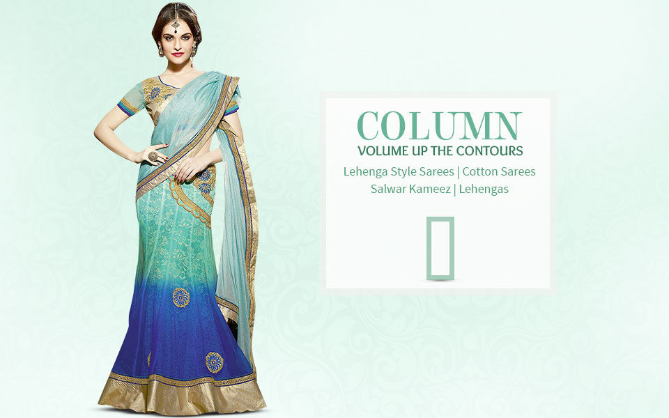 Ethnic fashion ensembles for column body shape