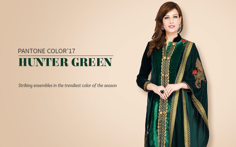 Shop Indian Ethnic Wear In Pantone Color Of The Year Hunter Green