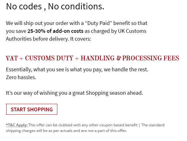 Get your fashion shipped with love from India absolutely Dutyfree!