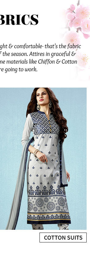 Explore fresh styles in Cotton Suits with the Changeover Sale. Buy Now!