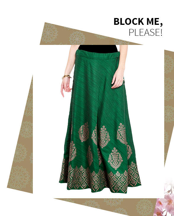 Block Printed Dhoti Pants, Skirts, Palazzos, Trousers & more  at the Changeover Sale. Buy Now!
