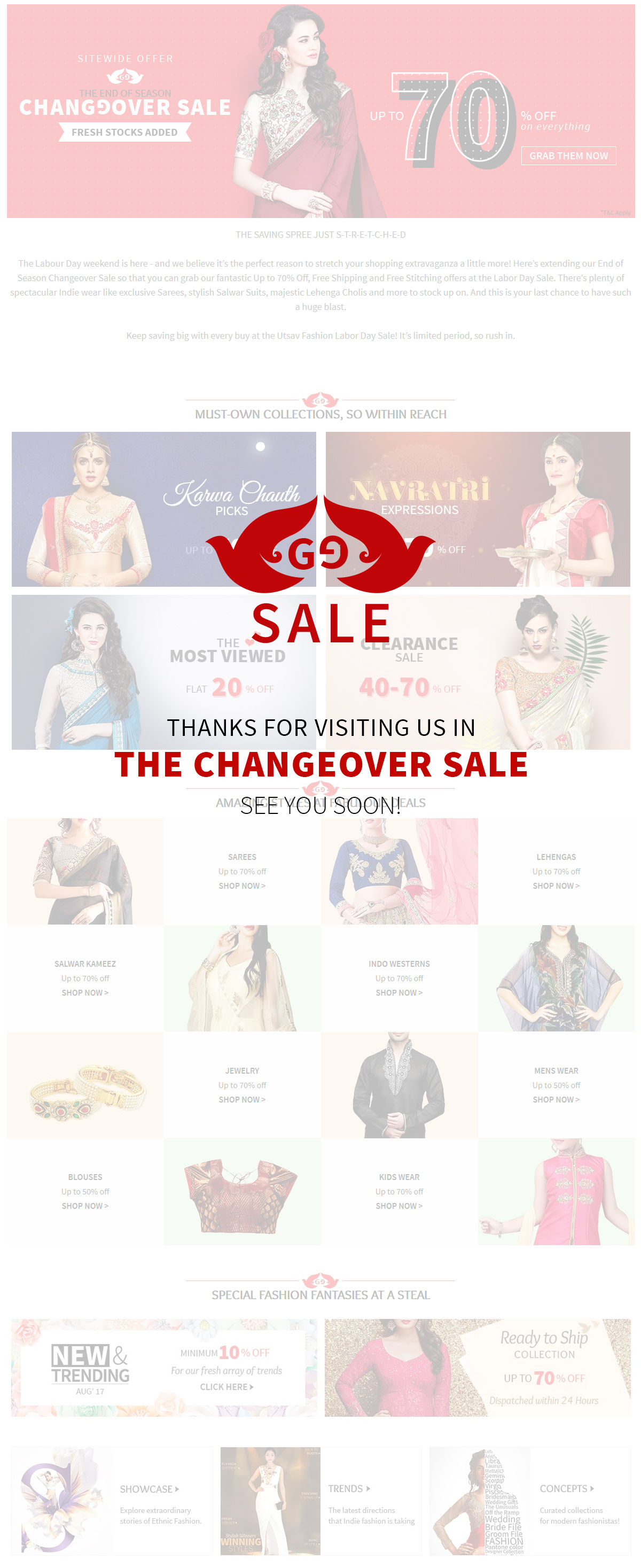 Thanks for visiting us in THE CHANGEOVER SALE see you soon!