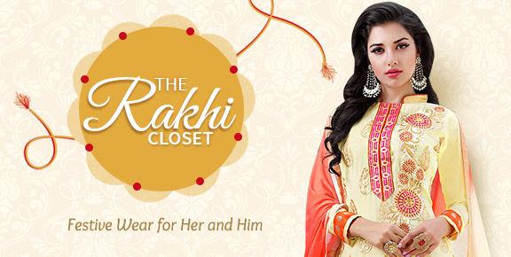 Rakhi Wardrobe of light work sarees, anarkalis, men's kurtas, kids' salwar sets and more. Shop!