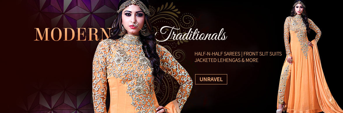 A new-age array of Half Half Sarees, Slit Cut Suits, Palazzos & more. Explore!