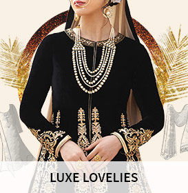Array of Silk, Velvet, Brocade fabrics with  Zari, Sequins and Stone work for the luxe look. Shop!