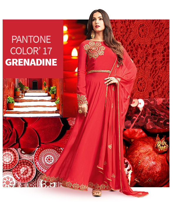 AW'17 Trend GRENADINE: Sarees, Salwar Suits, Lehengas, Skirts and more in Red. Shop!
