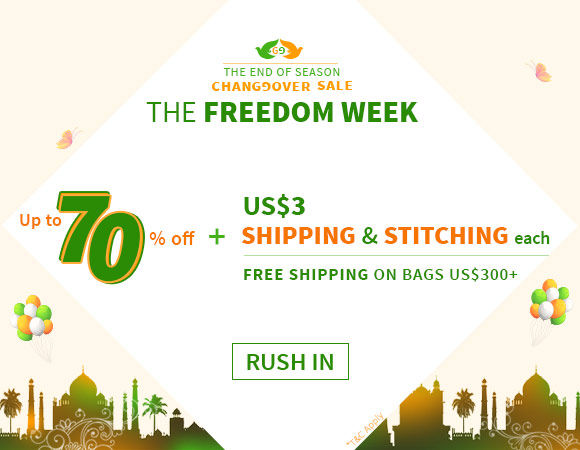 EOSS Freedom Week at Utsav Fashion: Upto 70% off + Flat US$3 Stitching* & Shipping Each. Shop!