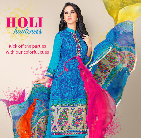 Holi Party ensembles in White, Brights, Ombre, Color Block, Lehariya, Bandhani and more. Shop!