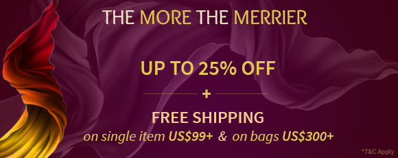 Step Up Offer: Upto 25% Off and Free Shipping on bags $300. Shop!
