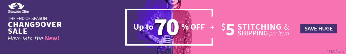 EOSS at Utsav Fashion: Upto 70% off + $5 Shipping & Stitching. Shop!