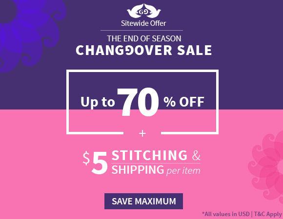 EOSS at Utsav Fashion: Upto 70% off + $5 Shipping & Stitching. Shop!
