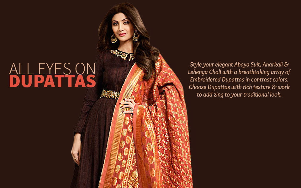 Collection of Embroidered Dupattas with Salwar Suits and Lehengas. Shop!