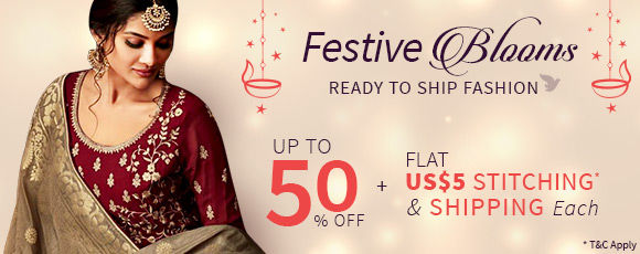 Festive Blooms | Up to 50% off with Flat US$5 Shipping & Stitching* each. Shop!
