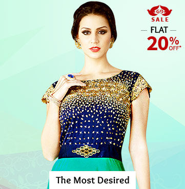 Flat 20% Off on Wishlist of Woven Sarees, Anarkalis, Gowns, Circular Lehengas, Add-ons & more. Shop!