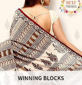 Block printed Sarees, Pakistani Suits, Kurtas, Skirts, Tops and Bottom wear. Shop!