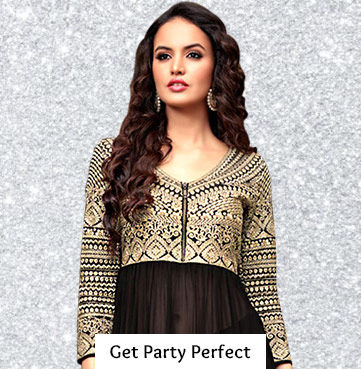 Sequined, Vibrant Party Wear in Sarees, Salwar Kameez, Pakistani Suits and more. Shop!