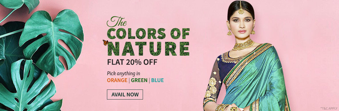 Flat 20% Off on Green, Blue, Orange ensembles. Shop!
