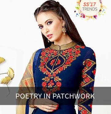Sarees, Blouses, Salwar Kameez & Lehenga Choli with Patchwork Yokes & Borders. Own!