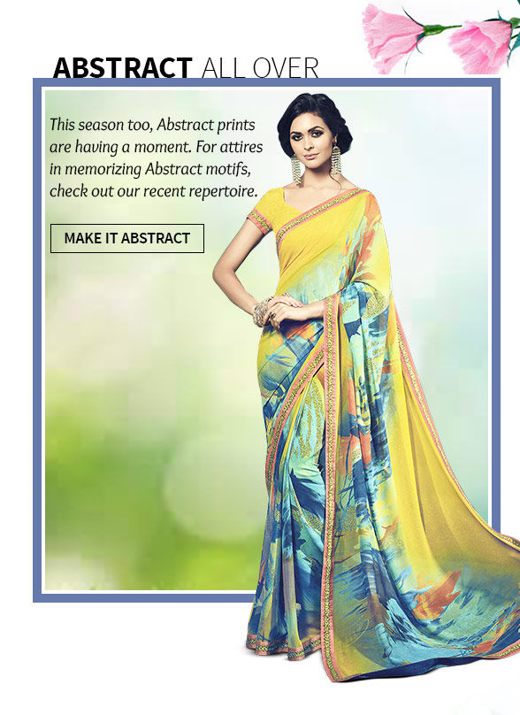 Lovely array of Sarees, Slawar Suits, Lhenegas & more in Abstract Prints. Buy Now!