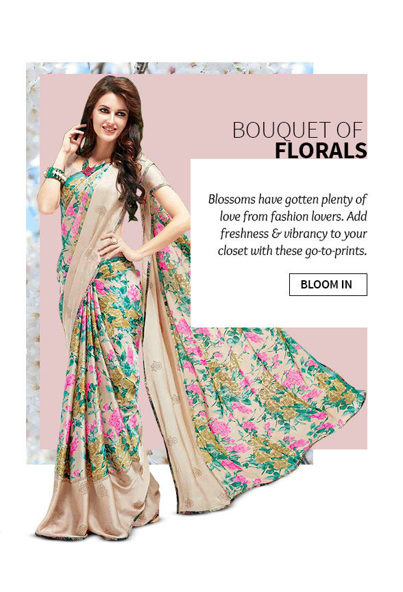 Latest collection of Sarees, Salwar Suits, Lehengas & more in Floral Print. Buy Now!