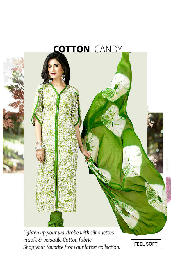 A lovely collection of Sarees, Salwar Suits, Long Kurtas & more in Cotton fabric. Buy Now!