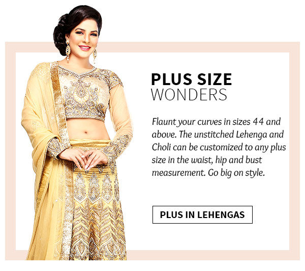 568835b21e8 The Largest collection of plus size lehengas from India. Shop Now
