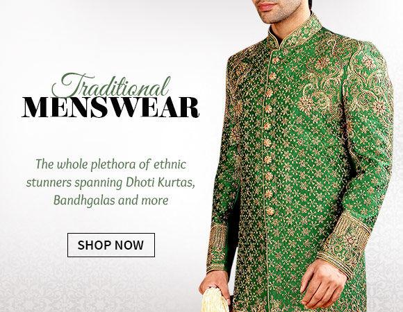 b9598141c6 Traditional Menswear like Dhoti Kurtas, Bandhgalas, Nehru Jackets in myriad  fabrics. Shop!