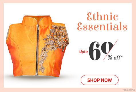 Upto 60% Off on range of Statement Blouses in monotone, prints & work to enhance your Saree look. Shop!