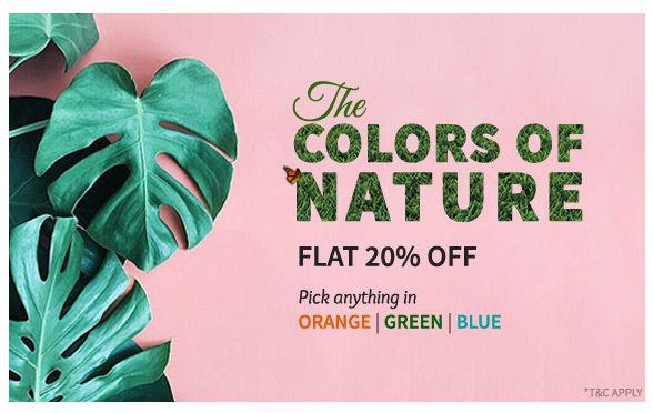 Flat 20% Off on Green, Blue, Orange ensembles. Shop!
