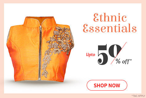 Upto 50% Off on range of Statement Blouses in monotone, prints & work to enhance your Saree look. Shop!