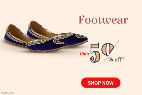 Upto 50% Off on fancy Footwear range adorned with ethnic work. Step up!