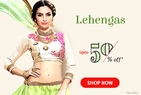Upto 50% Off on Lehenga Cholis for Stylish Ladies. It's a deal!