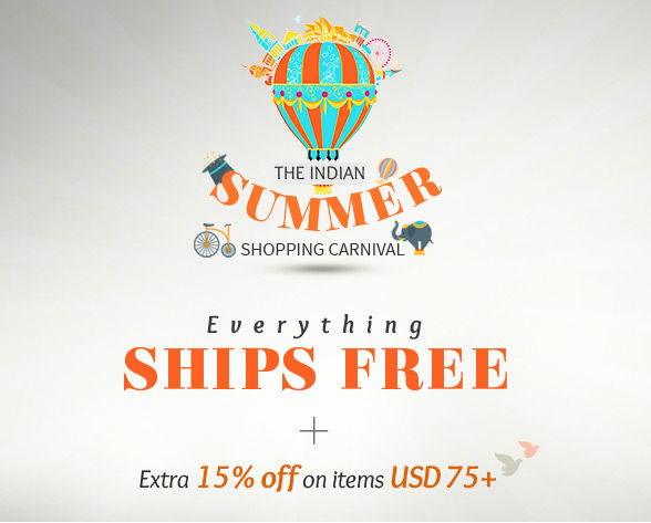 Indian summer Shopping Carnival: Free Shipping sitewide plus 15% Off on items of USD75+. Rush!