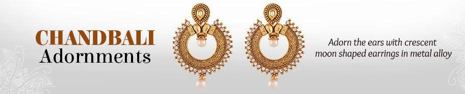 Chandbali earrings in Alloy Metal. Shop!