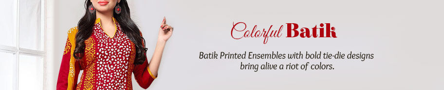 Batik Printed Ensembles in bright colors. Shop!