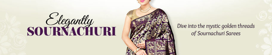 Golden-hued Sournachuri Sarees with motifs. Shop!